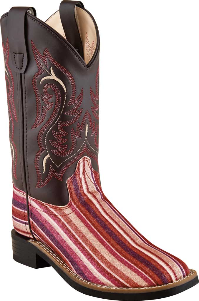 Children's Old West 9 inch Allover Broad Sq Toe Cowboy Boot - Child, Radish Brown Glitter/Brown Leatherette, large, image 1