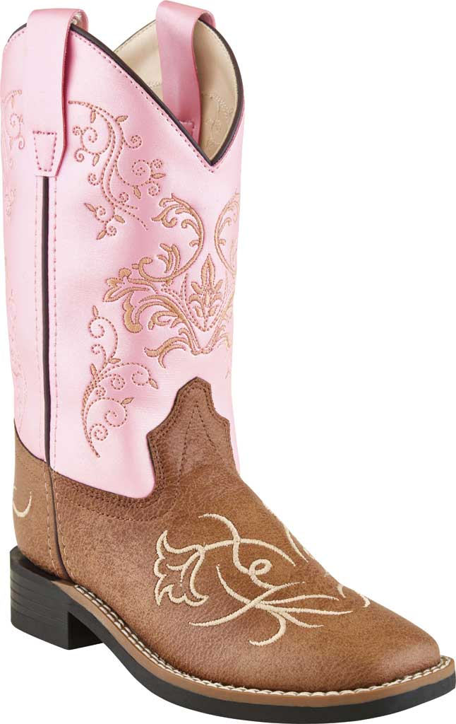 Children's Old West 9 inch Allover Broad Sq Toe Cowboy Boot - Child, Tan Vintage/Pink Leatherette, large, image 1