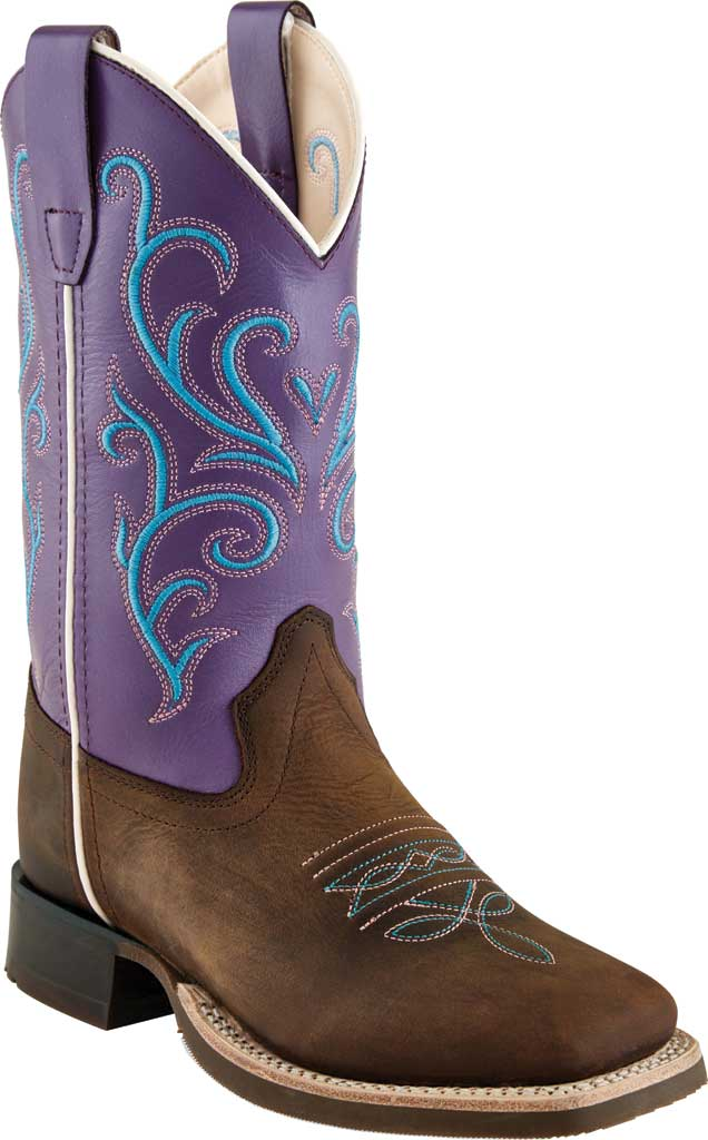 Children's Old West 9 Inch Broad Sq Toe Cowboy Boot - Child, Brown/Purple Nubuck, large, image 1