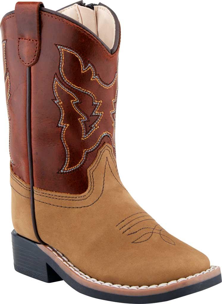 Children's Old West 9 Inch Broad Sq Toe Cowboy Boot - Child, Tan Brown/Radish Brown Nubuck, large, image 1