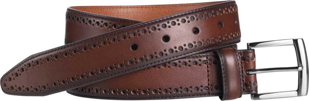 Men's Johnston & Murphy Perfed-Edge Belt, Mahogany Full Grain Leather, large, image 1