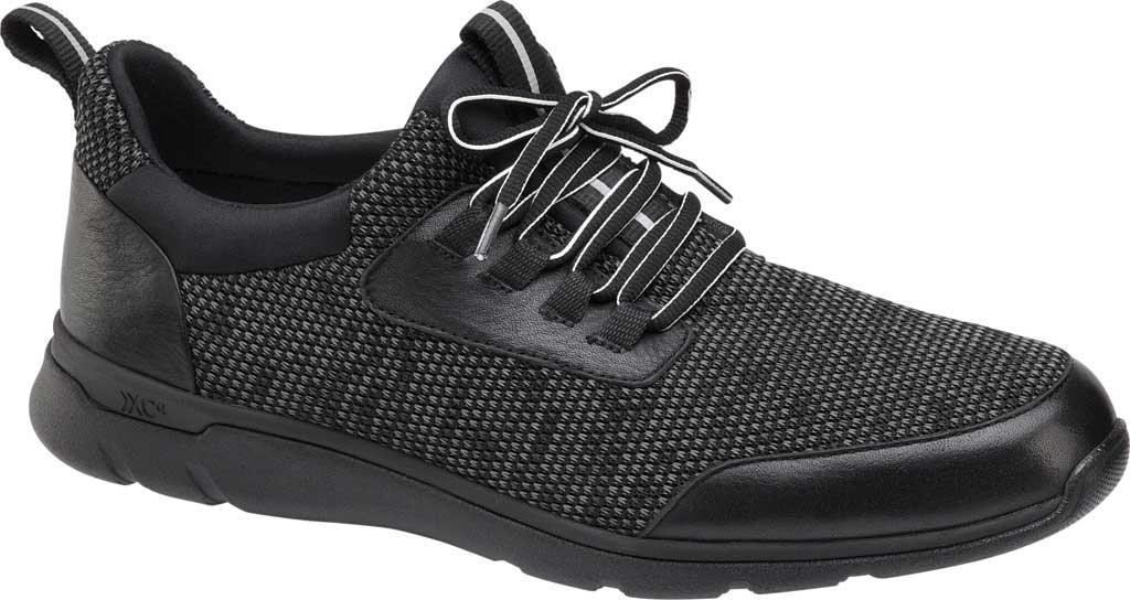 Men's Johnston & Murphy Prentiss Moc Toe Sneaker, Black Waterproof Full Grain Leather/Knit, large, image 1