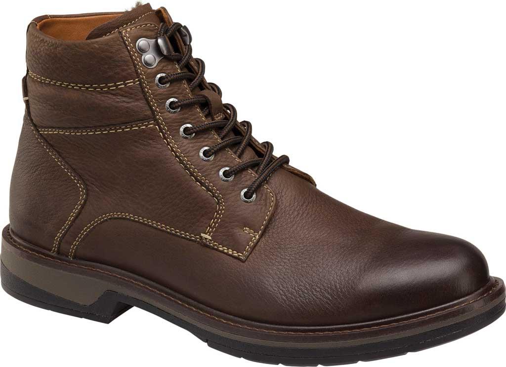 Men's Johnston & Murphy Rutledge Shearling Boot, Brown Oiled Waterproof Tumbled Full Grain Leather, large, image 1