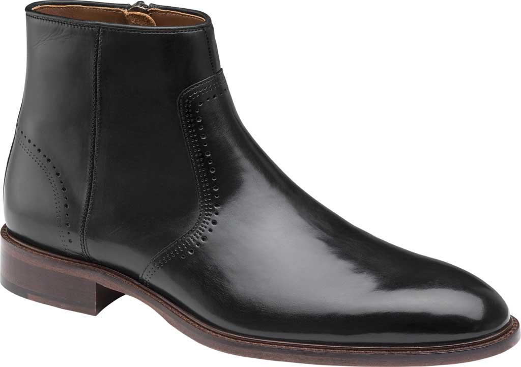 Men's Johnston & Murphy Sayer Plain Toe Zip Ankle Boot, Black Italian Calfskin, large, image 1