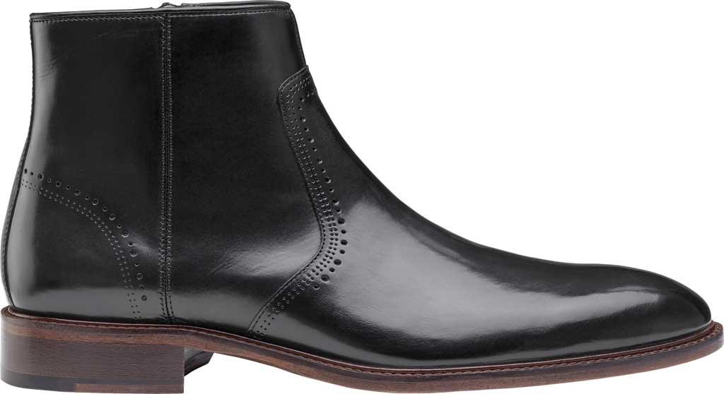 Men's Johnston & Murphy Sayer Plain Toe Zip Ankle Boot, Black Italian Calfskin, large, image 2