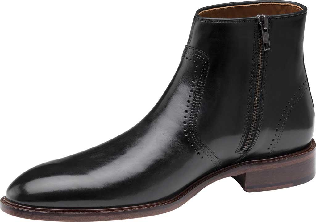 Men's Johnston & Murphy Sayer Plain Toe Zip Ankle Boot, Black Italian Calfskin, large, image 3
