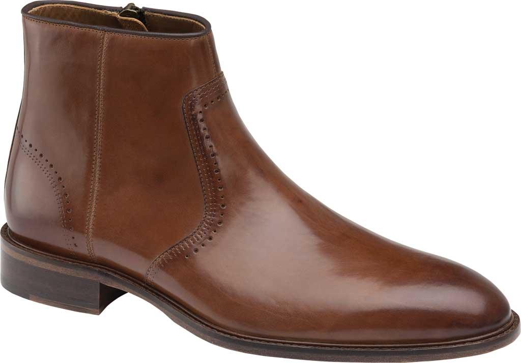 Men's Johnston & Murphy Sayer Plain Toe Zip Ankle Boot, Tan Italian Calfskin, large, image 1