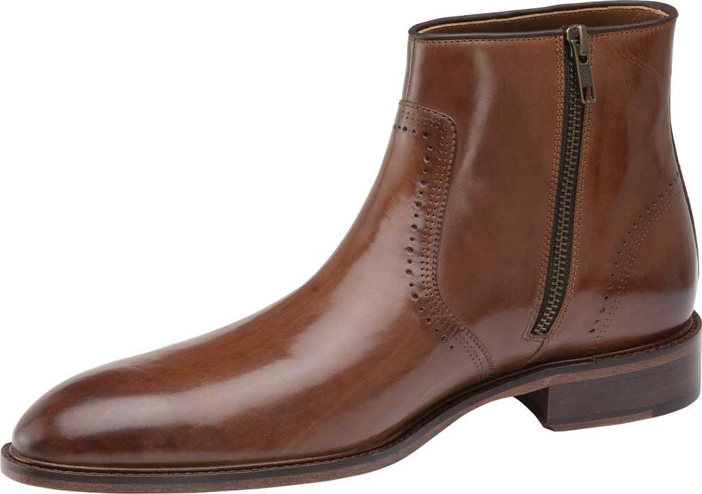 Men's Johnston & Murphy Sayer Plain Toe Zip Ankle Boot, Tan Italian Calfskin, large, image 3