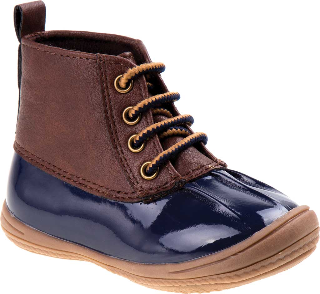 Infant Smart Step ST61078 Duck Boot, Navy Patent/Brown, large, image 1