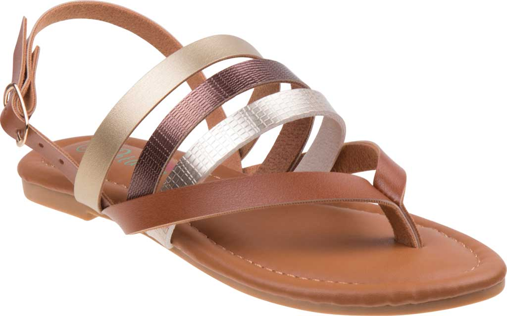 Girls' Petalia P81422S Strappy Thong Sandal, Tan Synthetic, large, image 1