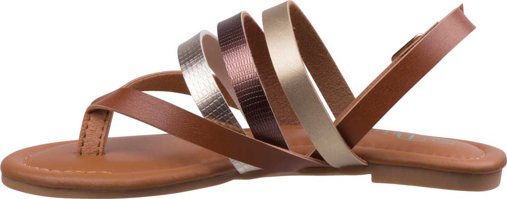 Girls' Petalia P81422S Strappy Thong Sandal, Tan Synthetic, large, image 3