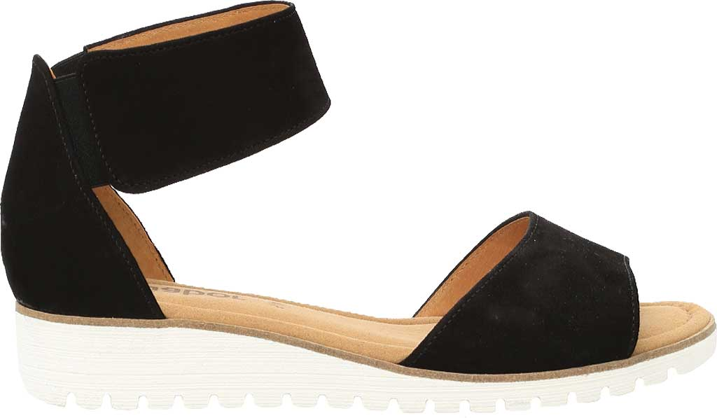 Women's Gabor 84-570 Ankle Strap Sandal, Black Suede, large, image 1
