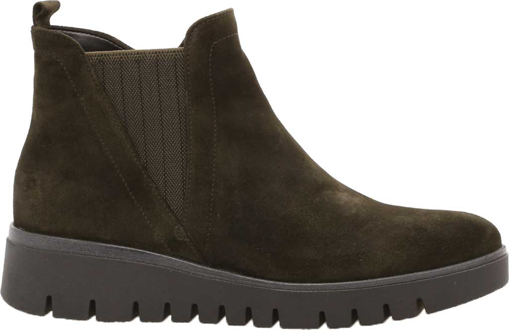 Women's Gabor 32-851 Chelsea Wedge Bootie, Green Nubuck/Patent Leather, large, image 1