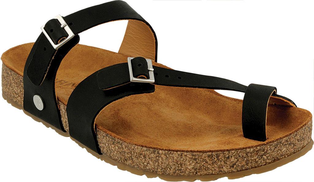 Women's Haflinger Hedda Toe Loop Sandal, Black Leather, large, image 1