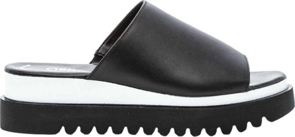 Women's Gabor 44-613 Wedge Slide, Black Leather, large, image 1