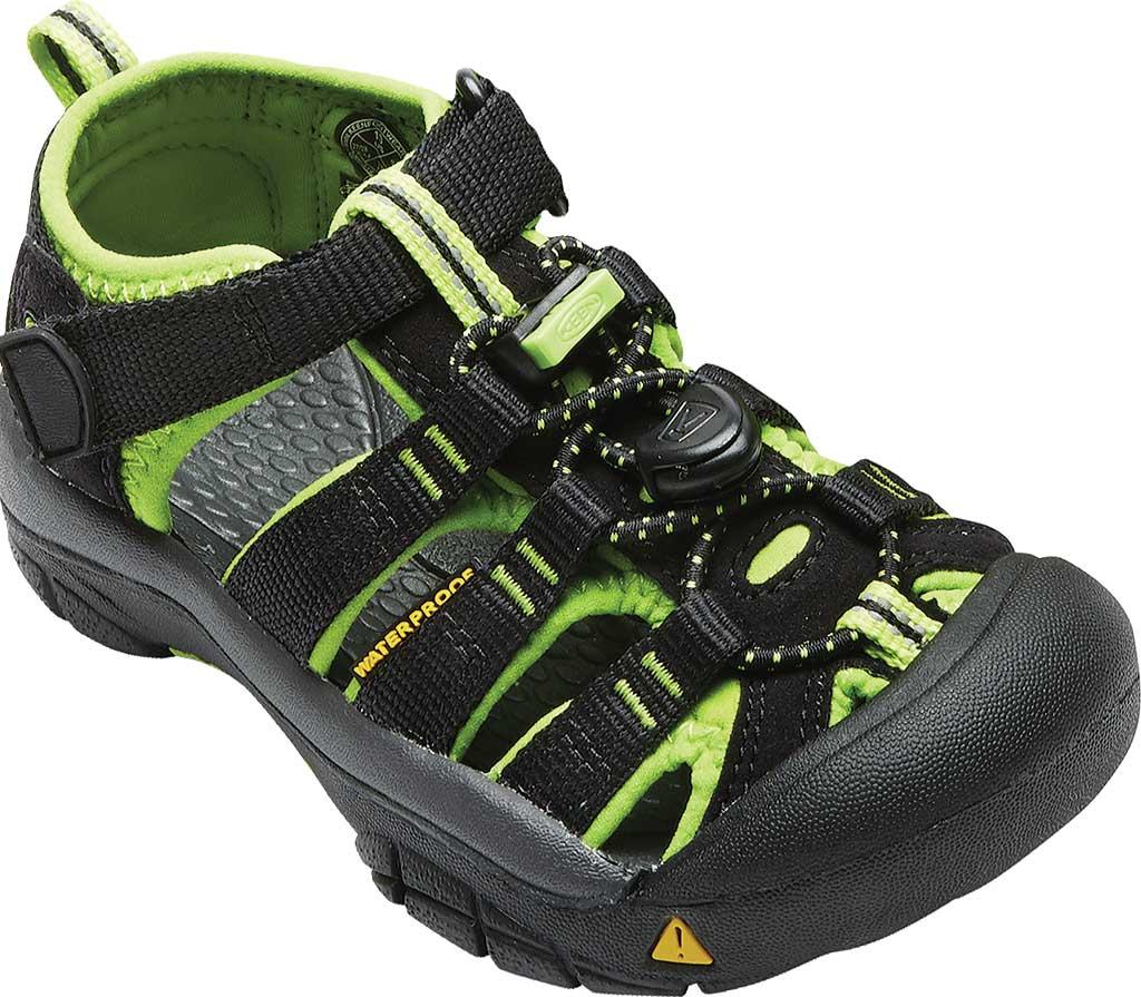 Children's KEEN Newport H2 Sandal, Black/Lime Green, large, image 1