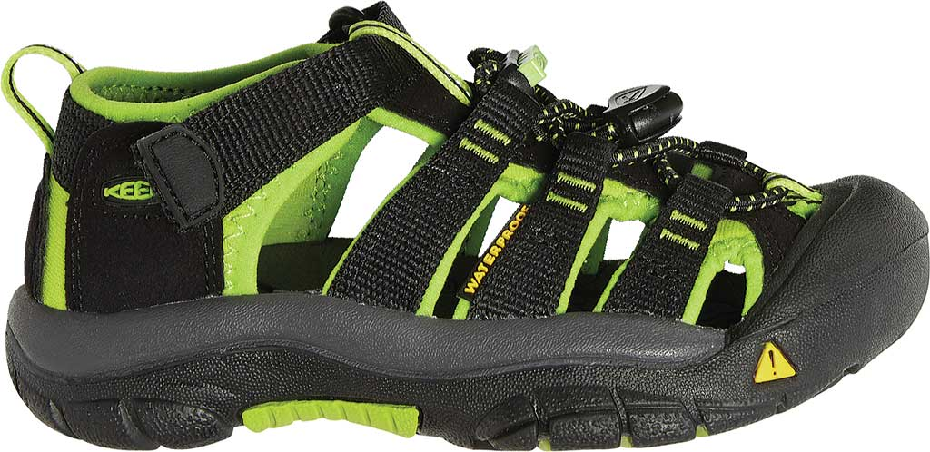 Children's KEEN Newport H2 Sandal, Black/Lime Green, large, image 2