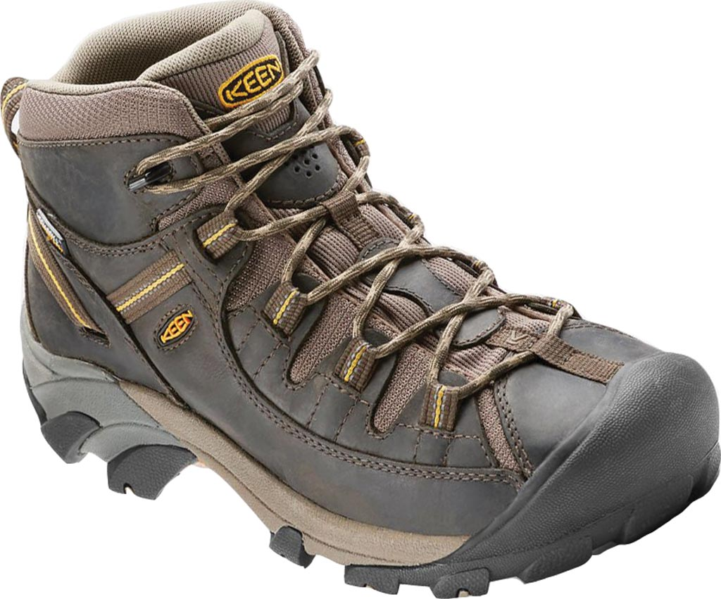 Men's Keen Targhee II Mid Hiking Boot, Black Olive/Yellow, large, image 1