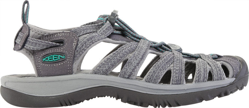 Women's KEEN Whisper Sandal, Medium Grey/Peacock Green, large, image 2