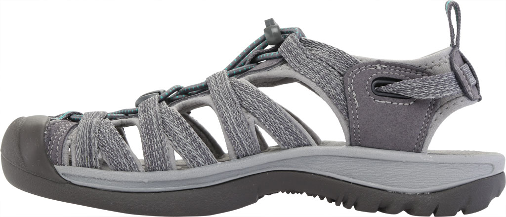 Women's KEEN Whisper Sandal, Medium Grey/Peacock Green, large, image 3