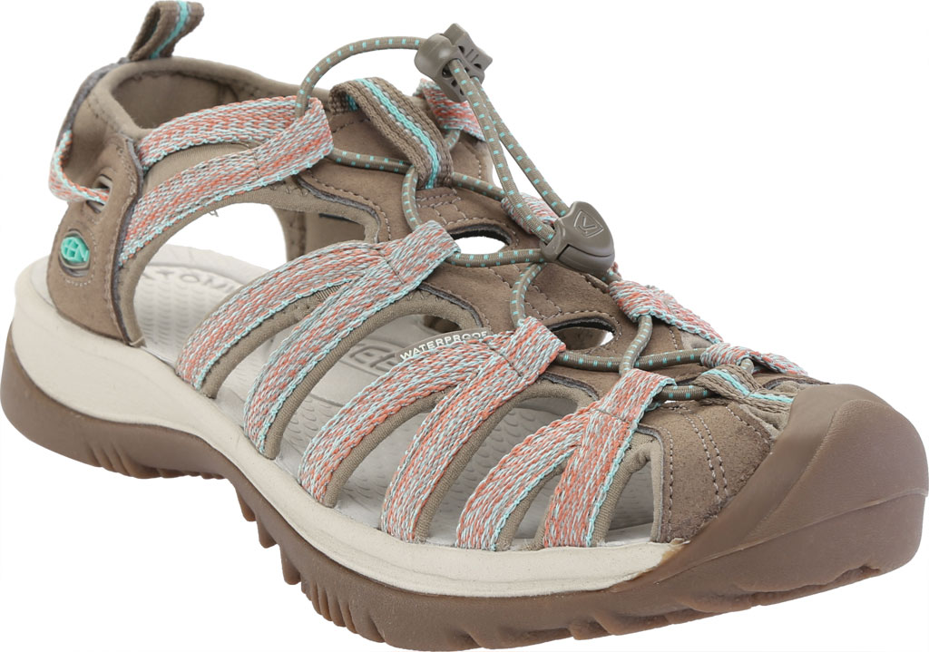 Women's Keen Whisper Sandal, Taupe/Coral, large, image 1