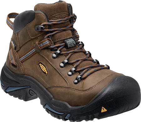 Men's KEEN Utility Braddock Mid All Leather Steel Toe Boot, Bison/Ensign Blue, large, image 1