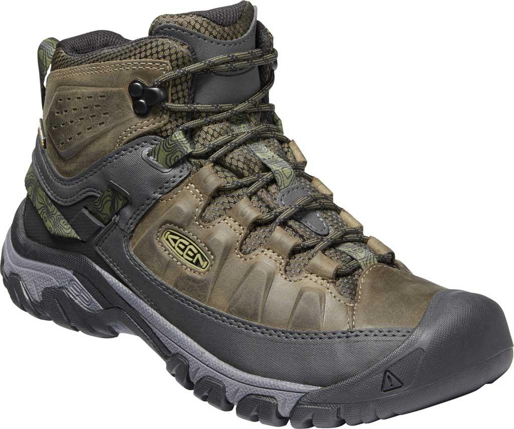 Men's KEEN Targhee III Mid Waterproof Hiking Boot, Dark Olive/Black, large, image 1