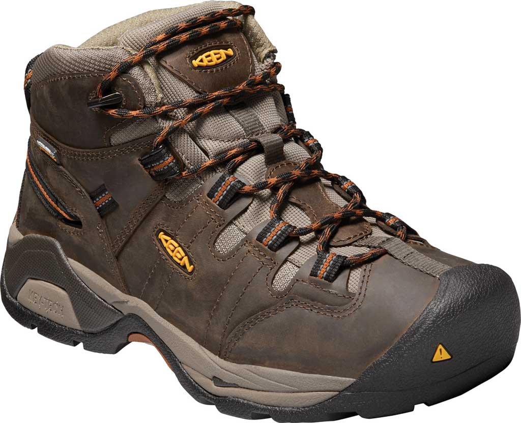 Men's KEEN Utility Detroit XT Mid Soft Toe Waterproof Work Boot, Black Olive/Brown Leather, large, image 1