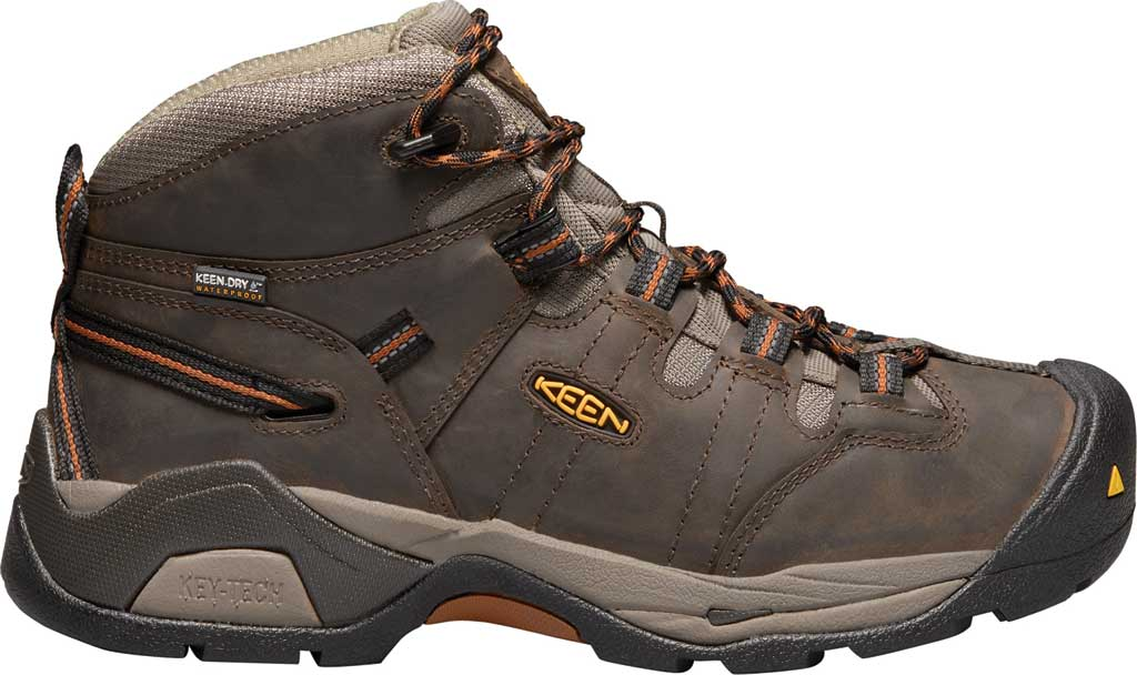 Men's KEEN Utility Detroit XT Mid Soft Toe Waterproof Work Boot, Black Olive/Brown Leather, large, image 2