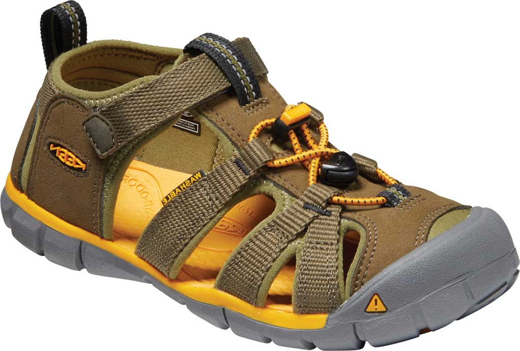 Children's Keen Seacamp II CNX Fisherman Sandal - Youth, Military Olive/Saffron, large, image 1