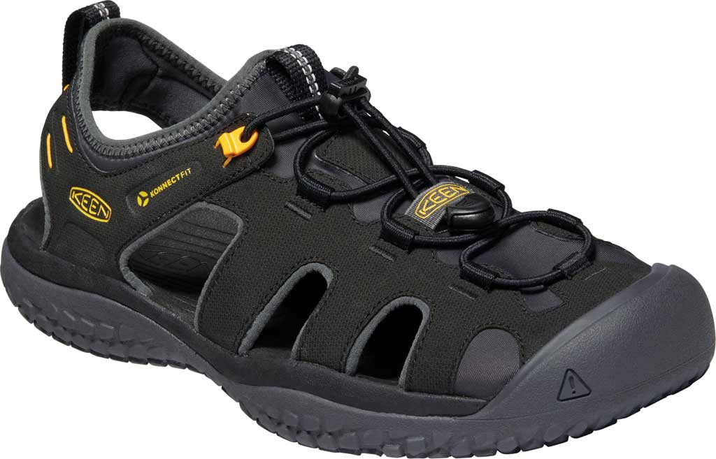 Men's KEEN Solr Fisherman Sandal, Black/Gold, large, image 1