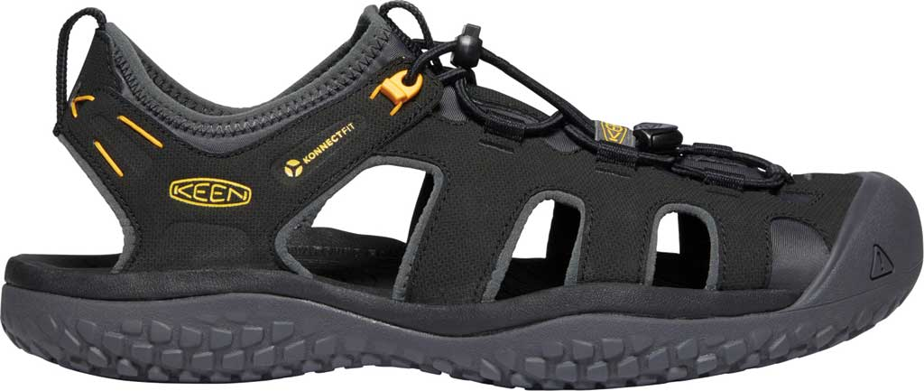 Men's KEEN Solr Fisherman Sandal, Black/Gold, large, image 2