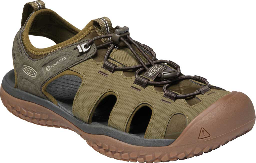 Men's KEEN Solr Fisherman Sandal, Dark Olive/Taupe, large, image 1