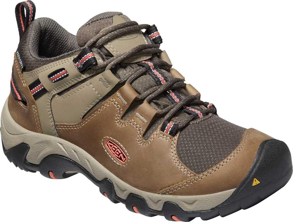 Women's Keen Steens Waterproof Hiking Boot, Timberwolf/Coral, large, image 1
