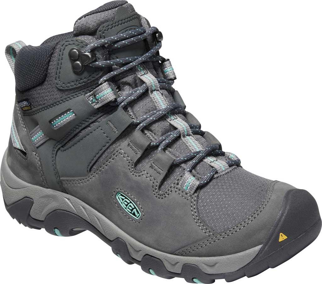 Women's KEEN Steens Mid Waterproof Hiking Boot, Steel Grey/Ocean Wave, large, image 1