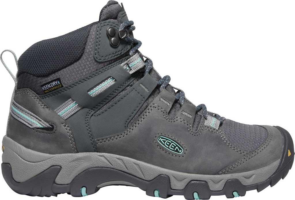 Women's KEEN Steens Mid Waterproof Hiking Boot, Steel Grey/Ocean Wave, large, image 2