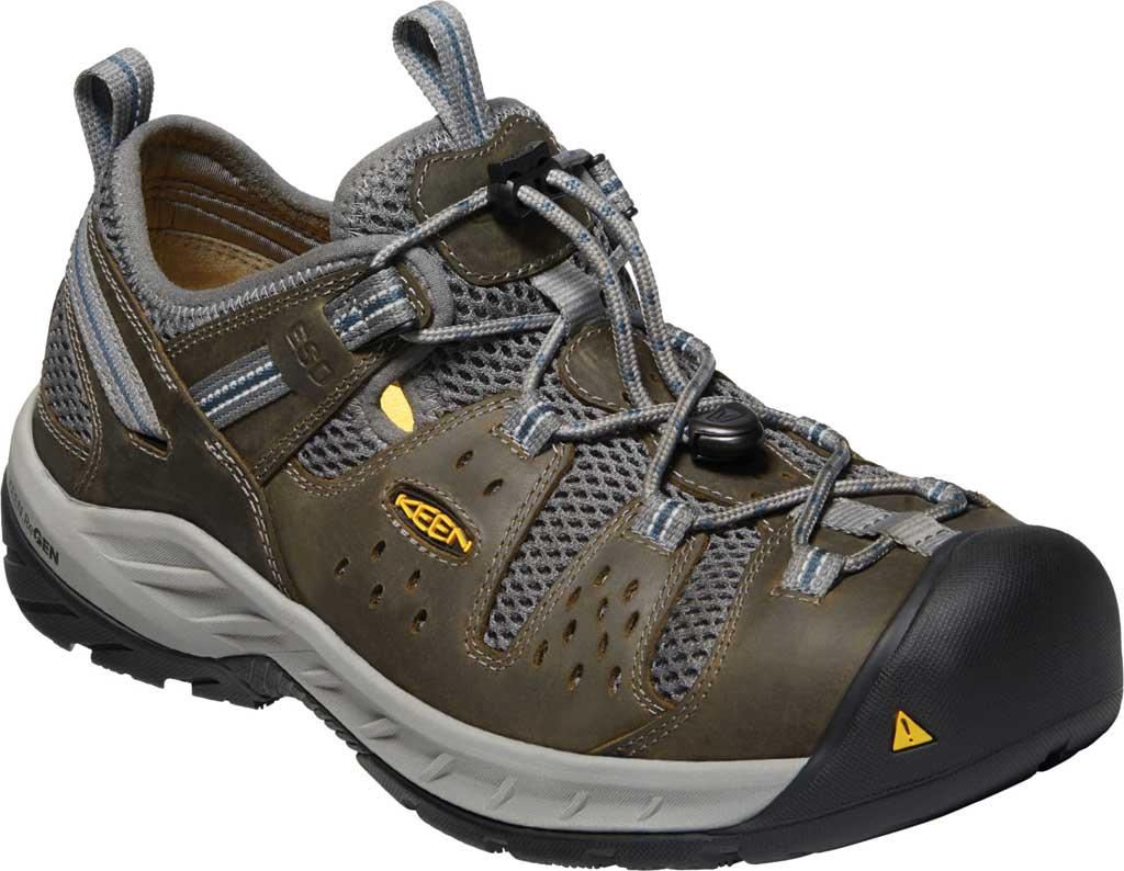Men's KEEN Utility Atlanta Cool II ESD Steel Toe Work Shoe, Gargoyle/Midnight Navy Leather/Mesh, large, image 1