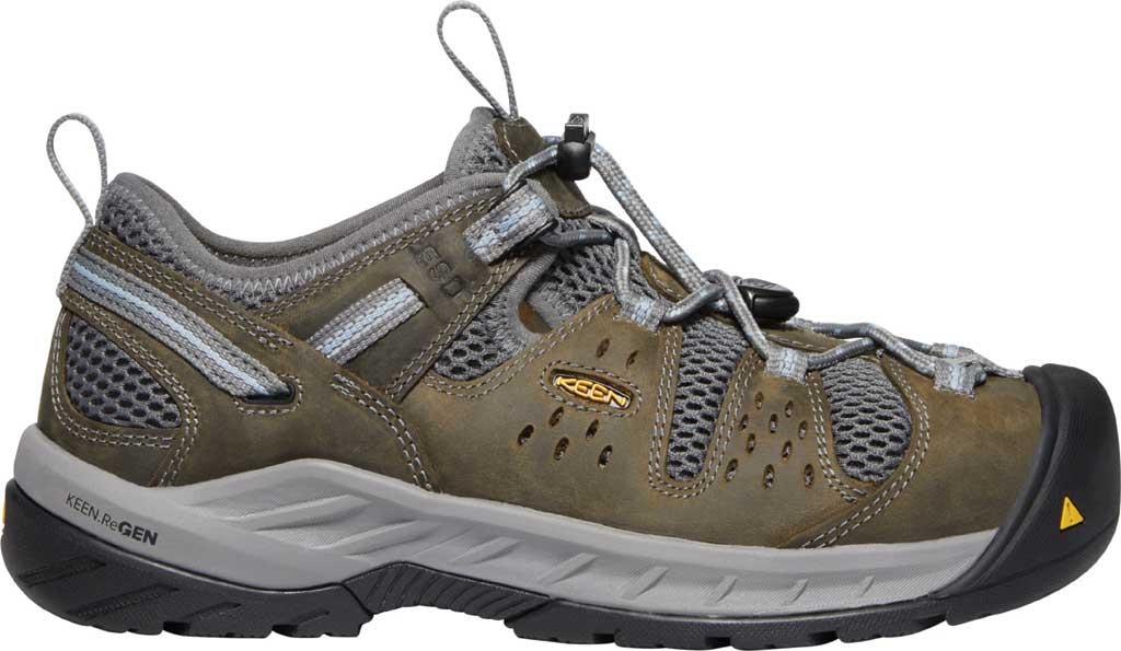 Women's KEEN Utility Atlanta Cool II ESD Steel Toe Work Shoe, Gargoyle/Blue Fog Leather/Mesh, large, image 2