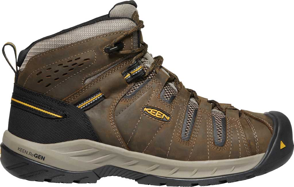 Men's KEEN Utility Flint II Mid Steel Toe Work Boot, Cascade Brown/Golden Rod Leather/Mesh, large, image 2