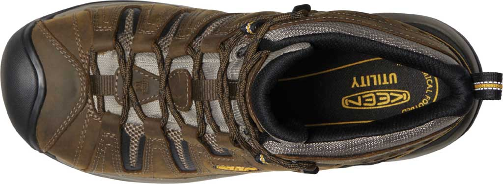 Men's KEEN Utility Flint II Mid Steel Toe Work Boot, Cascade Brown/Golden Rod Leather/Mesh, large, image 3