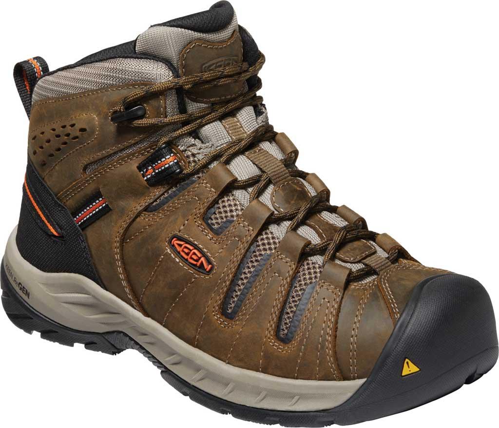 Men's KEEN Utility Flint II Mid Soft Toe Work Boot, Cascade Brown/Burnt Ochre Leather/Mesh, large, image 1