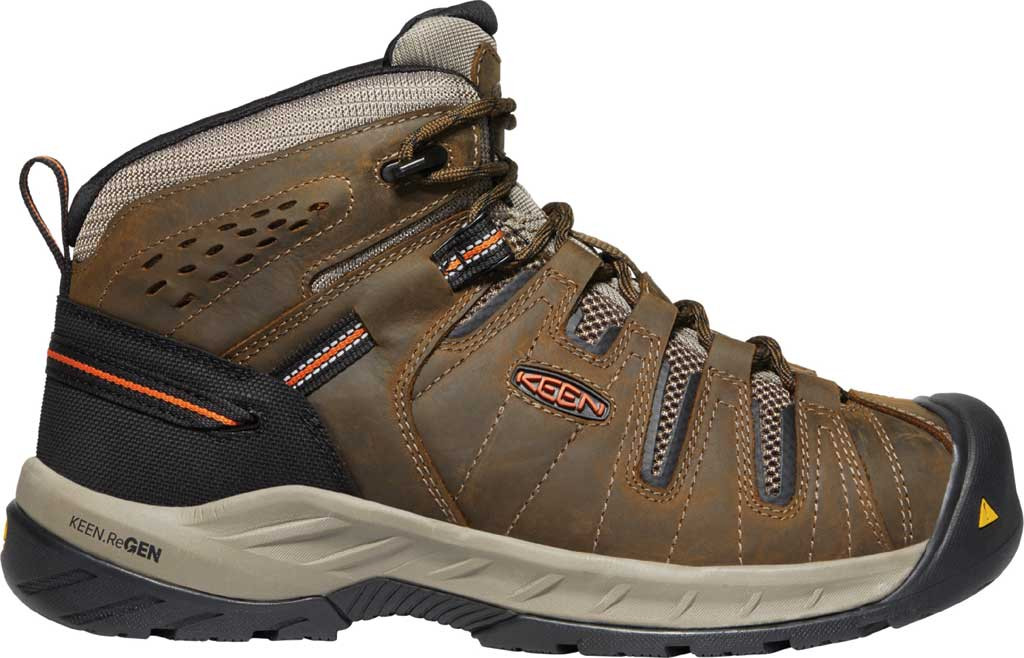 Men's KEEN Utility Flint II Mid Soft Toe Work Boot, Cascade Brown/Burnt Ochre Leather/Mesh, large, image 2