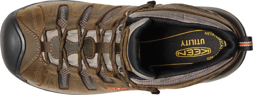 Men's KEEN Utility Flint II Mid Soft Toe Work Boot, Cascade Brown/Burnt Ochre Leather/Mesh, large, image 3