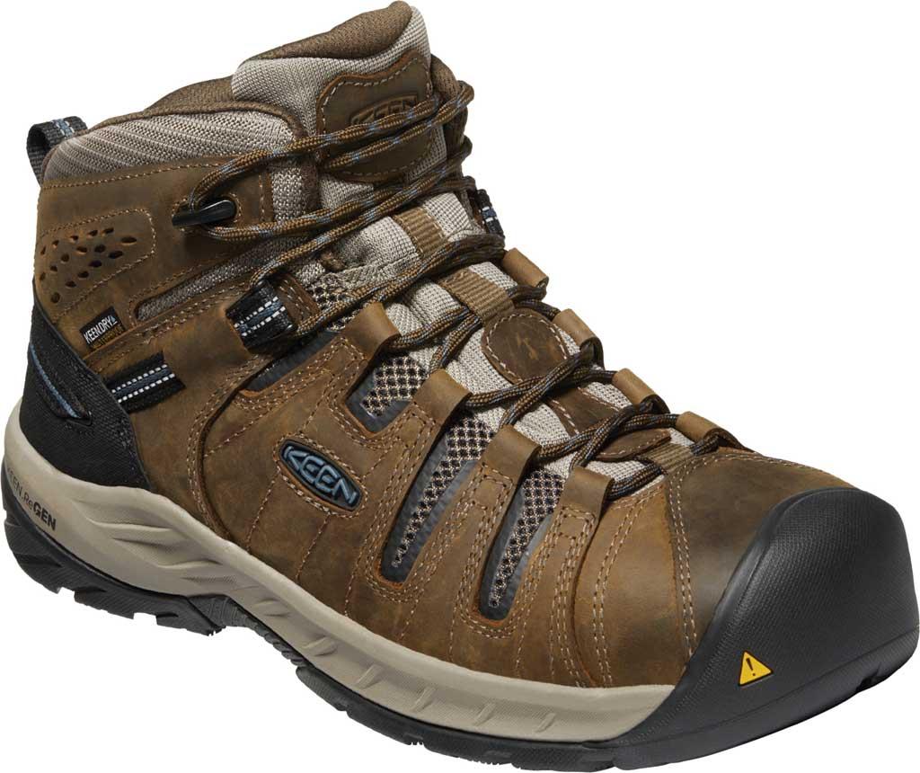 Men's KEEN Utility Flint II Mid Waterproof Steel Toe Work Boot, Cascade Brown/Orion Blue Leather/Mesh, large, image 1