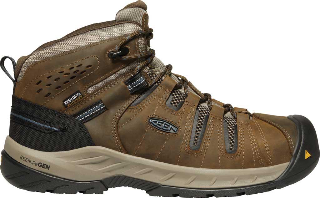 Men's KEEN Utility Flint II Mid Waterproof Steel Toe Work Boot, Cascade Brown/Orion Blue Leather/Mesh, large, image 2