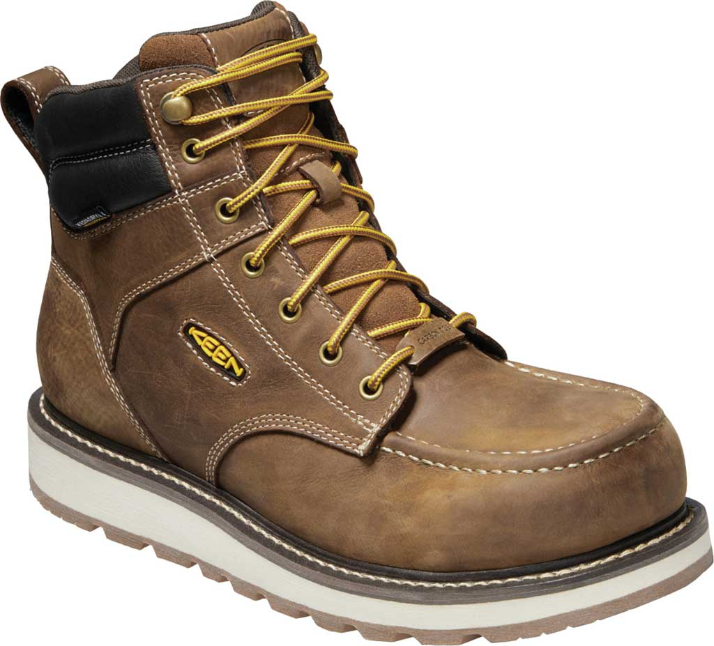 "Men's KEEN Utility Cincinnati 6"" Waterproof Carbon Toe Work Boot, Belgian/Sandshell Full Grain Waterproof Leather, large, image 1"