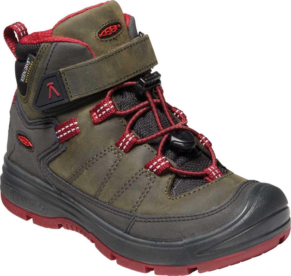 Children's KEEN Redwood Mid Waterproof Boot - Little Kid, Steel Grey/Red Dahlia, large, image 1