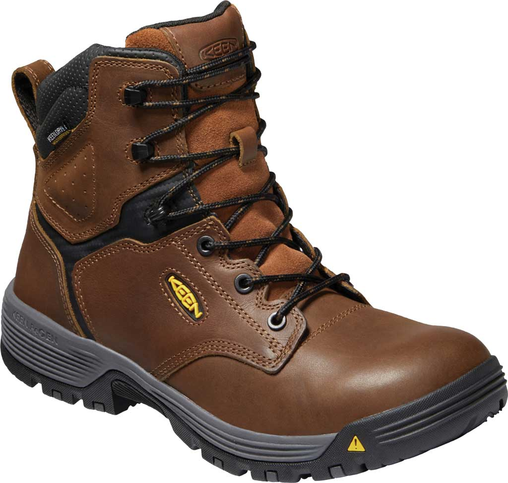 """Men's KEEN Utility Chicago 6"""" Waterproof Soft Toe Work Boot, Tobacco/Black Leather, large, image 1"""
