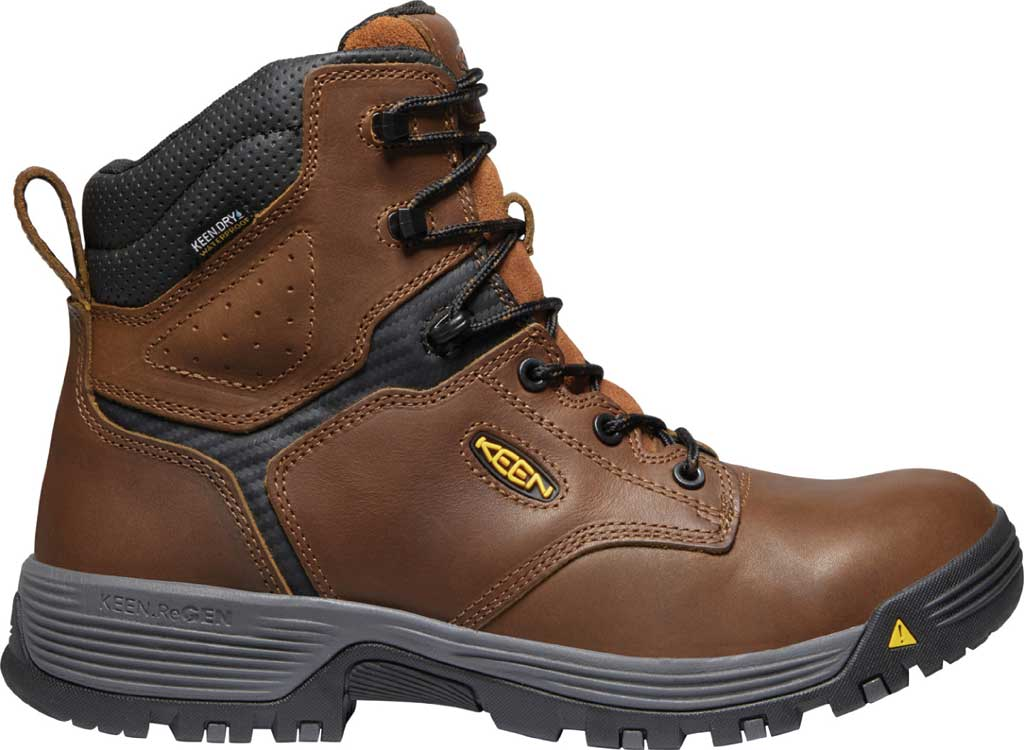 """Men's KEEN Utility Chicago 6"""" Waterproof Soft Toe Work Boot, Tobacco/Black Leather, large, image 2"""