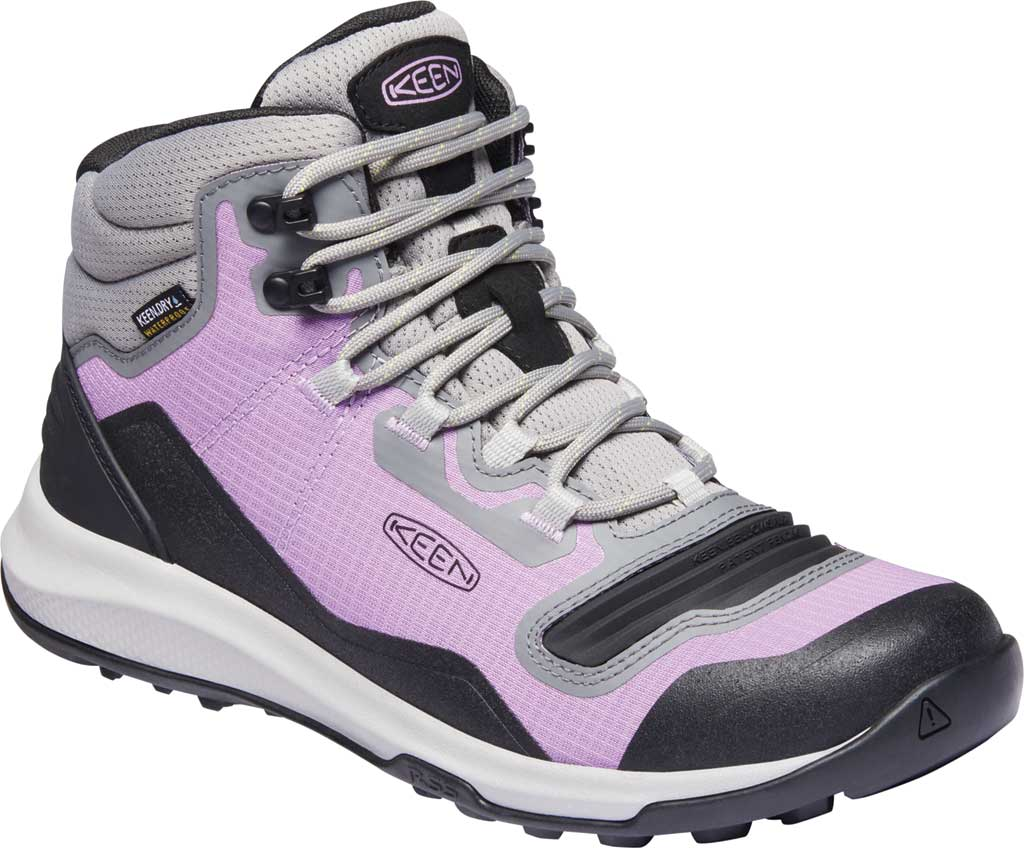 Women's KEEN Tempo Flex Mid Waterproof Hiking Boot, African Violet/Sharp Green, large, image 1